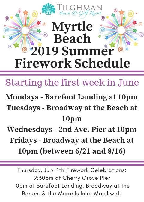 Myrtle Beach 2019 Firework Schedule