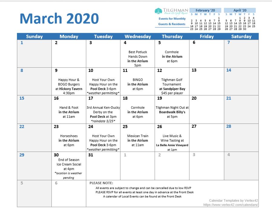 March 2020 Winter Activities Calendar